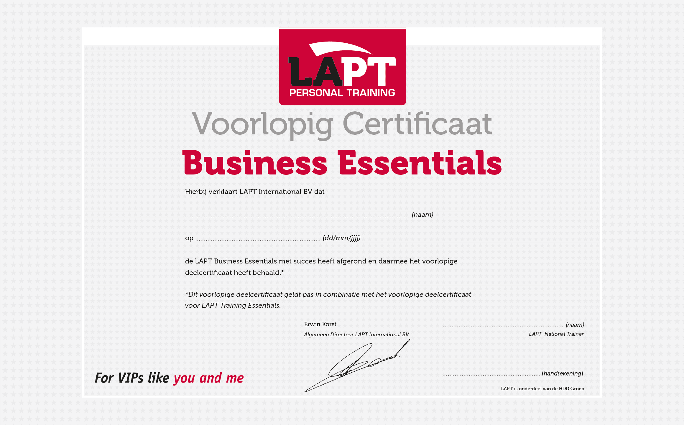 LAPT certificaat business essentials
