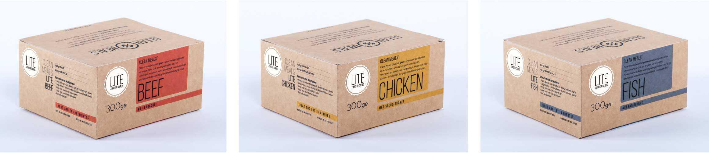 Clean Meals verpakkingen ontwerp Fitbrand
