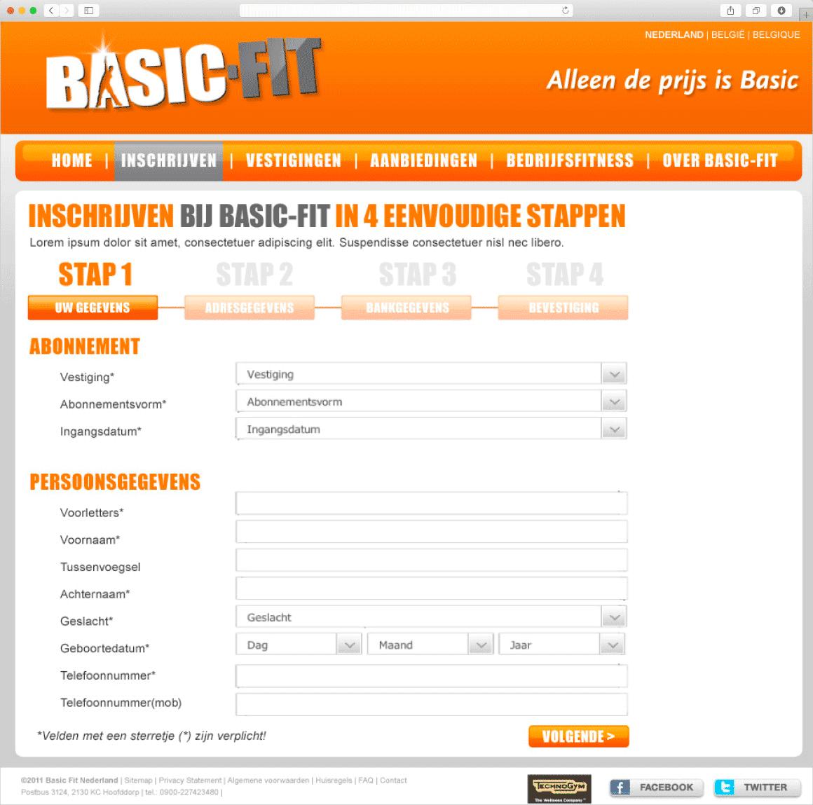 Ontwerp inschrijfformulier website Basic-Fit door Fitbrand