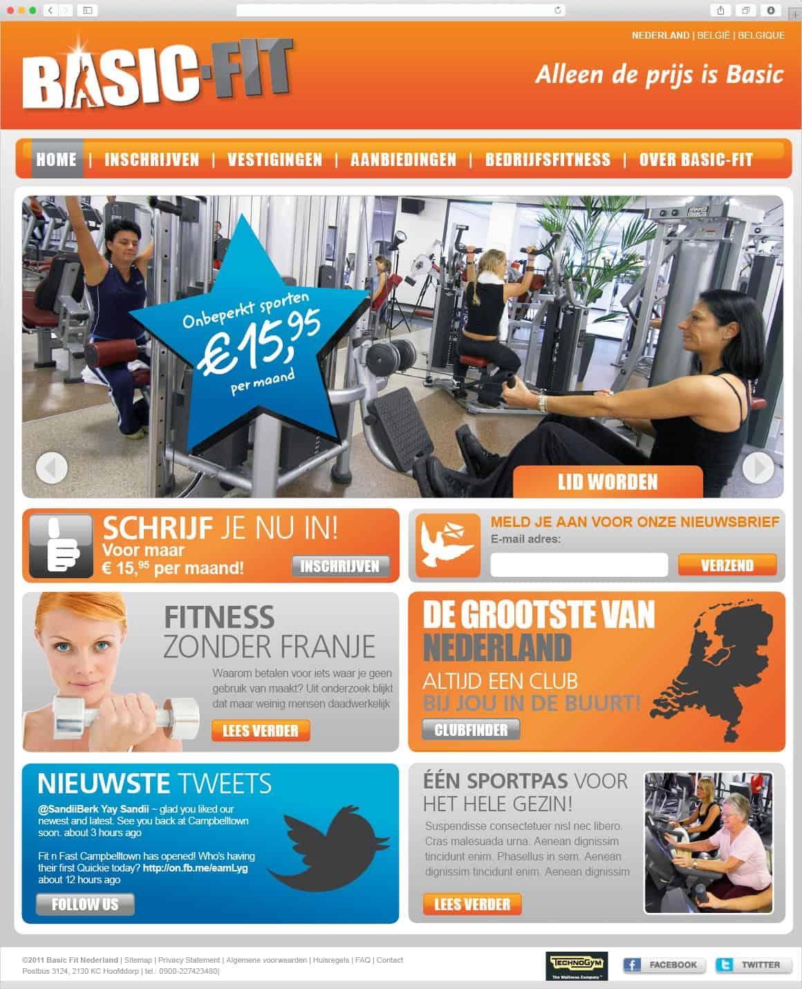 Ontwerp website Basic-Fit homepage door Fitbrand