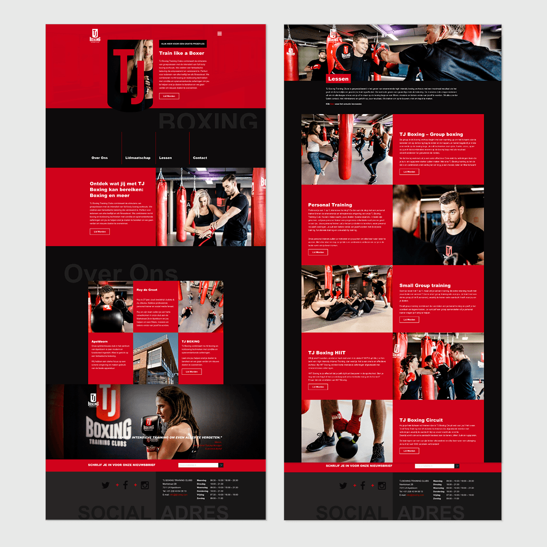 TJ Boxing webdesign