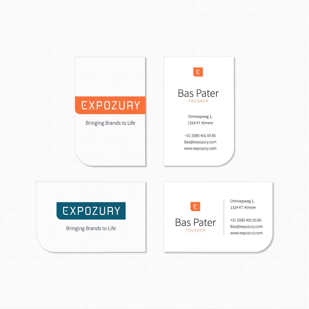 nieuwe merkidentiteit visitekaartjes expozury