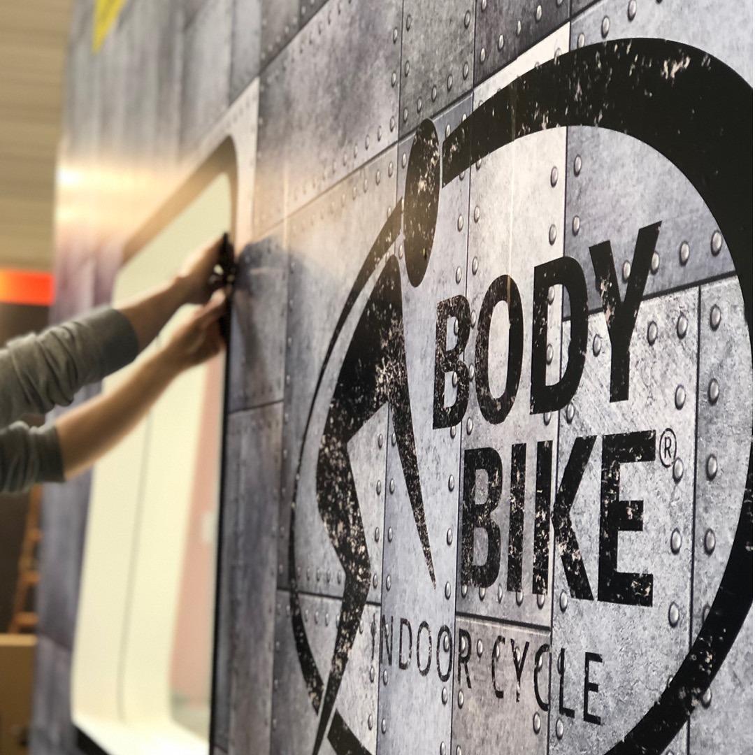 bodybike beursstand ontwerp opbouwen