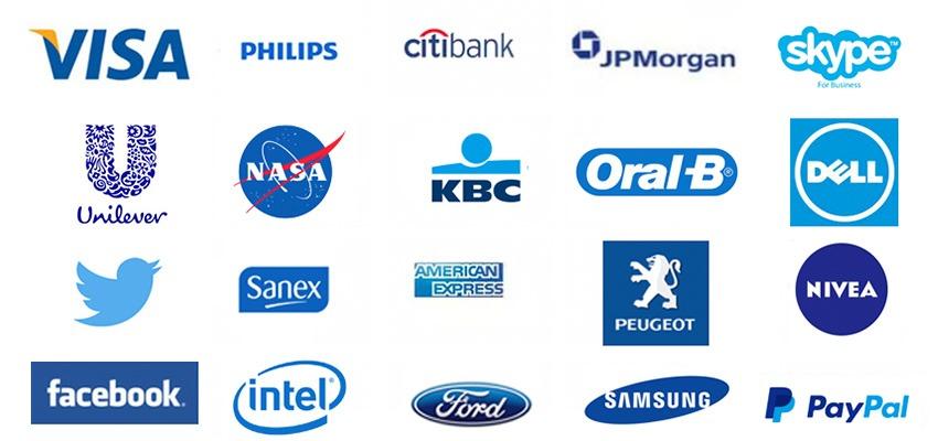 blauwe logos
